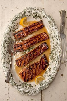 Salmon glazed with Rosemary & Lemon Infused Honey... I'm thinking that honey will be good for all kinds of other things... summer cocktail perhaps!