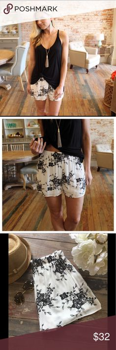 """Ivory and black embroidered shorts Modeling size small. Fully lined.  Waist laying flat: S 13"""" M 14"""" L 14"""" Length S 14"""" M 14.5"""" L 15"""". Add to bundle to save when purchasing. CH9000407 Shorts"""