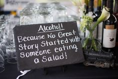 Bottoms up! Because no great story started with someone eating a salad!! ... Framed and in a script.