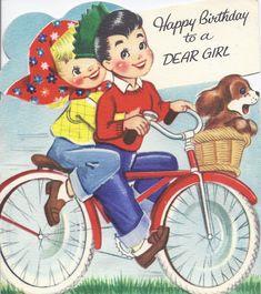 Biking birthday greetings #vintage