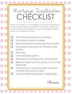 Mortgage Application Checklist! #annaroy.com #home #buyers #realtors #divacfo #loans