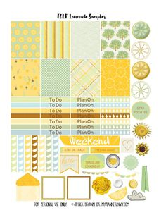 Lemonade Sampler Page 1 for the Vertical Erin Condren on myplannerenvy.com
