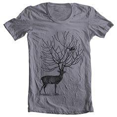 Men's Fashion Tshirt DEER American Apparel Unisex Tee  SLATE (6 colors) Sizes S-XL (cts). $20,00, via Etsy.