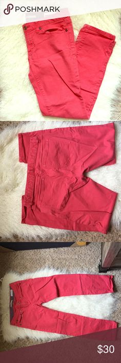 """Dark Coral Jeans 🌻 Gap jeans in a dark coral color. Straight leg opening. Inseam 28"""". 