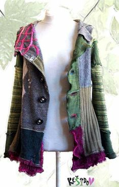 Diy patchwork upcycled jacket r Ropa Upcycling, Look Fashion, Diy Fashion, Diy Clothing, Sewing Clothes, Vetements Clothing, Diy Kleidung, Recycled Sweaters, Diy Upcycled Sweater Coat