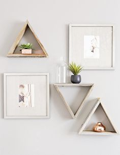 Baby Nursery. Appealing Design Ideas Of Colorful Mid Century Nursery. Fascinating Design Mid Century Color Baby Nursery Ideas featuring White Wall Paint Color and Triangle Shape Wall Mount Storage Shelves