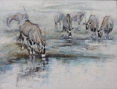 On the other side. Oryx from the Kgalagadi Transfrontier game park. South Africa. Oil Artist: Mariana Zwaan