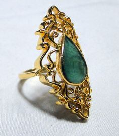 vintage 18 K solid gold Art Deco natural Emerald gemstone set Ring. Beautiful one of type collection piece in very good condition. weight-10.700 grams, Usa ring size -7.5 ( we can adjust to any size), size of TOP- 2.7/2.5 cm, Material -18 K solid gold (marked), natural Emerald , | Shop this product here: spreesy.com/tribalexport/32 | Shop all of our products at http://spreesy.com/tribalexport    | Pinterest selling powered by Spreesy.com