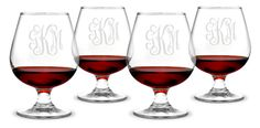 Monogrammed Brandy Snifters Glass Set of Create Beautiful & Unique Personalized Glassware Wine Carafe, Wine Glass Set, Bridesmaids And Groomsmen, Special Characters, Old English, Red Wine, Spring 2014, Monograms, Scotch