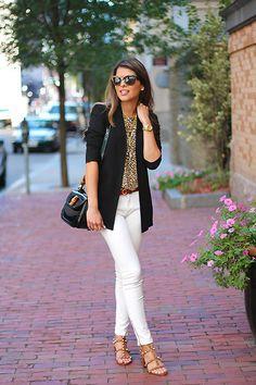 Asos Sunglases, Asos Animal Print Top, Gucci Handbag, Theory Blazer, Salvatore Ferragamo Belt, Zara White Jeans, Valentino Sandals
