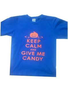 """Halloween Keep Calm & Give me Candy Boys (Youth) T-shirt Size """"L"""""""