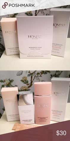 NEW! Honest Beauty Skincare Products NEW! Honest Beauty Everything Primer, Beyond Protected Daily Beauty Fluid in Sheer Tint, and Travel sized Refreshingly Clean Powder Cleansers. Both full size products were sampled ONCE on the back of my hand. I just don't think their super moisturizing properties will work well with my naturally oily skin. Honest Beauty Makeup