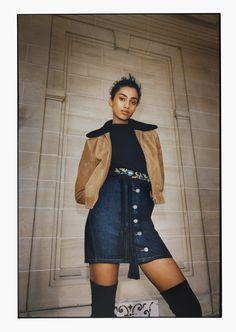 FW16 Maje Campaign  BAKARO Jacket - MAESTRY Sweater - JENINO Skirt - AQUA Belt - FUISY Boots - M Bag