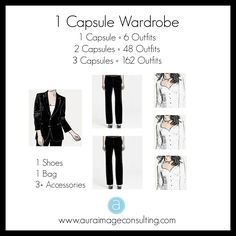 A capsule wardrobe is a way to organize your wardrobe for maximum use. Just imagine! With just 30 pieces of clothing you can create up to 950 outfits! Click to create yours http://auraimageconsulting.com/2014/08/plan-organize-shop-capsule-wardrobe/