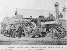 Messrs Leonard Bros' traction engine with trailer loads of wool at Clifton. Otago Witness photo, first published Toyota Tundra, Steam Engine, Mail Art, New Zealand, Cable, Australia, Explore, Wool, Farming