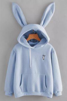 Cute Rabbit Embroidered Long Sleeve Pocket Hoodie With Rabbit Ear Hood, Fashion Style Hoodies & Sweatshirts Girls Fashion Clothes, Teen Fashion Outfits, Emo Outfits, Punk Fashion, Lolita Fashion, Trendy Outfits, Summer Outfits, Fashion Dresses, Kawaii Clothes