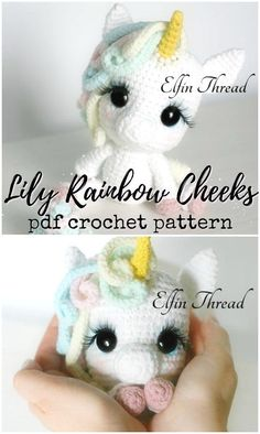 Unicorns Unicorns Lily Rainbow Cheeks adorable little amigurumi unicorn crochet pattern! I love her adorable big eyes and eyelashes! Crochet Pattern Round Up of Unicorn Patterns! Crochet Motifs, Crochet Patterns Amigurumi, Amigurumi Doll, Crochet Dolls, Cute Crochet, Crochet Baby, Crochet Eyes, Diy Craft Projects, Crochet Projects