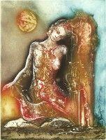 Clair de lune, Gravure, du peintre, Carmelo, DE LA PINTA, Signée et numérotée au crayon