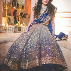 Blue reception lehenga