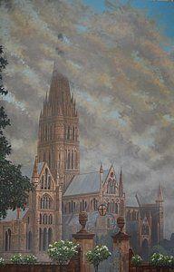 Salisbury Cathedral Painting - Salisbury by Dan Remmel Salisbury Cathedral, Fine Art America, England, Wall Art, Dan, Gallery, Prints, Poster, Painting