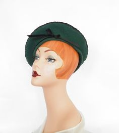 French beret hat, green with black velvet trim by TheVintageHatShop on Etsy https://www.etsy.com/listing/222186177/french-beret-hat-green-with-black-velvet