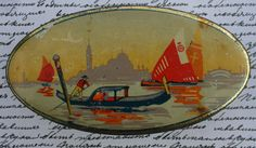 Sharp's Super-Kreem Toffee in an oval tin with an Art Deco Venetian scene
