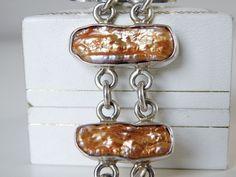 Vintage Sterling Silver 925 CHUNKY Gold Biwa Pearl Station Bracelet  #Handmade #Statement #BiwaPearlJewelry #SterlingJewelry #StatementJewelry #BiwaPearl
