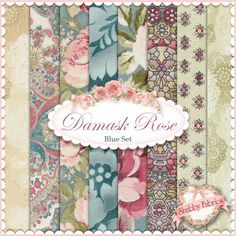 """Damask Rose  Blue 8 FQ Set By Robert Kaufman: Damask Rose is a collection by Robert Kaufman Fabrics.  100% cotton.  This set contains 8 fat quarters, each measuring approximately 18"""" x 21""""."""