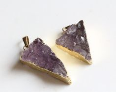 2pcs raw Amethyst crystal quartz drusy pendantnatural gemstone drusy pendant healing crystal stone drusy pendant (15.00 USD) by williamsupplies