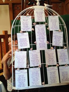 Vintage Birdcage Wedding Table Plan - all written with Silhouette machine