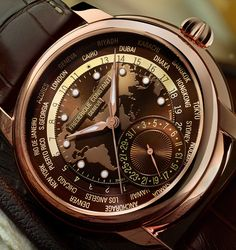 After the white dial, came the blue dial with lume on the hour and minute hands. Now Frederique Constant launched the Classic Worldtimer Manufacture in a brown dial with a rose gold plated case..