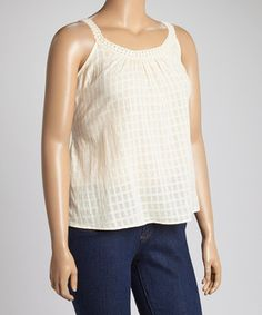Another great find on #zulily! Ivory Crocheted Back-Tie Tank - Plus by C.O.C. #zulilyfinds
