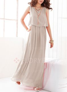 c7cab1cd34 Dresses -  40.99 - Chiffon Solid Sleeveless Maxi Casual Dresses  (1955127082) Chiffon Dress Long