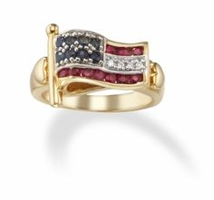 Gold American Flag Ring with Multi Gemstones American Pride, American Flag, Usa Gear, Gold Rings, Gemstone Rings, Heart Of Gold, Sapphire Diamond, Heart Ring, Rose Gold
