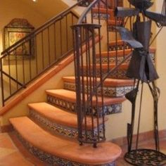 Decorating: Rustic Family Room With Rustic Floor Tiles Stairs Wood Beams And Green Livingroom Sofa Tiled Staircase, Rustic Staircase, Tile Stairs, Flooring For Stairs, Staircase Design, Staircase Ideas, Staircase Remodel, Staircase Railings, Basement Stairs