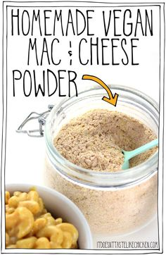 Add the ingredients to a jar and shake for s… Homemade Vegan Mac & Cheese Powder! Add the ingredients to a jar and shake for shelf stable DIY boxed mac and cheese. Vegan Cheese Recipes, Vegan Sauces, Vegan Foods, Vegan Dishes, Dairy Free Recipes, Vegan Vegetarian, Fast Recipes, Healthy Recipes, Boxed Mac And Cheese