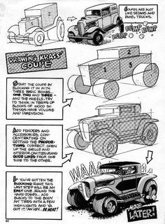 Trosley How to Draw Old Cars Cartoon Sketches, Cartoon Art, Drawing Sketches, Sketching, Cartoons Magazine, Cool Car Drawings, Truck Coloring Pages, Car Illustration, Pinstriping