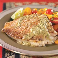 Grilled Snapper with Caper Sauce Recipe -The snapper in this recipe but if you prefer another for another fish, try mahi-mahi. It is a delicious firm, mild fish that won't fall apart on the grill.—Alaina Showalter, Clover, South Carolina