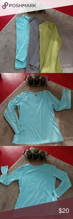 Sz Small long sleeve bundle Color: aqua, green, gray  Description: bundle of 3 long sleeve shirts sz small, all in good condition (worn as undershirts), some pre-pilling. Aqua & Green: Hanes, 100% cotton Gray: Falls Creek, a little thicker  ❤️ Always open to offers/ questions! Discount for bundles of 2+ items! Hanes Tops Tees - Long Sleeve