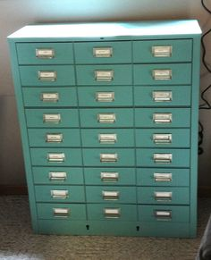 "metal file cabinet painted with Annie Sloan ""Provence"" chalk paint"