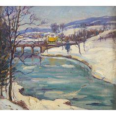 """""""Bridge in Winter,"""" Fern I. Coppedge, oil on canvas, 18 x 20"""", private collection."""