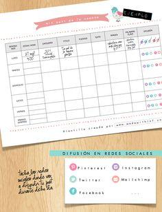 social calendar for blogs. Calendario semanal para organizar tu blog- template Plantilla