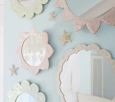 Small Pink Sunflower Capiz Mirror | Pottery Barn Kids