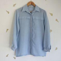 vtg 70's // lanvin shirt // light blue // collar // chambray // classic // top // blouse