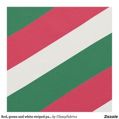 Red, green and white striped pattern fabric
