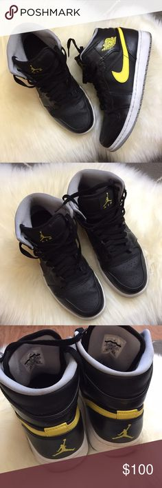 Nike Air Jordans Black and yellow Air Jordans. Light wear. No box. ❤️no trades. Nike Shoes Sneakers