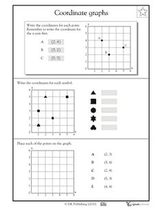 What are the coordinates of the triangle? This math worksheet lets your child practice reading and working with coordinate pairs to find and plot data points. Appropriate for grades 4, 5.