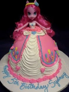 Pinkie Pie My Little Pony Equestria Girl cake I made for my daughter's 5th Birthday