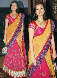 Colorful in #Lehenga Dia Mirza at an #IndianWedding Sangeet Ceremony in 2012 #Desi