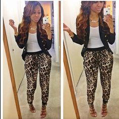 Blazer, tank top, cheetah jogger pants, heels